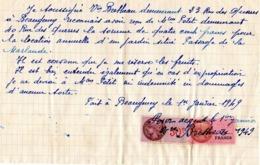 Lettre Manuscrite Pour Bon Travail  Beaugency Brethieau Loiret Berthe Camille Petit 1940 Timbre Fiscal 1,5 Fr - Documents Historiques