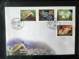 Taiwan Republic Of China FDC 2011 Sea Slugs Marine Life Nature Biodiversity 4 Value Stamps - 1945-... Republic Of China