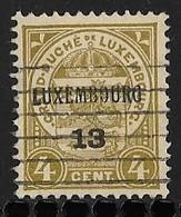 Luxembourg 1913  Prifix Nr. 87 Gestempeld - Precancels