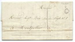MARQUE POSTALE BOITE RURALE C PIGNAN 1846 POUR MONTPELLIER - 1801-1848: Précurseurs XIX