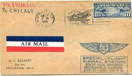 """ETATS-UNIS LETTRE PAR AVION AVEC CACHET """" SPECIAL FLIGHT AIRMAIL STATION STATE FAIR GROUNDS SPRINGFIELD ILLINOIS......."""" - 1c. 1918-1940 Covers"""