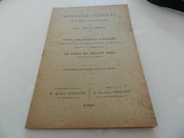 Monnaies  Antiques   20 Juilllet  1899   Rue  Drouot   Vente  Aux Encheres   Publiques - Livres & Logiciels