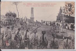 Tonkin Phuc-Yen Inauguration Du Monument élevé à La Mémoire Des Soldats Tués Tirailleurs Timbre Cachet Postal Indochine - Vietnam