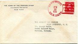 """ETATS-UNIS LETTRE DEPART AIR MAIL SERVICE APR 15 1925 NEW YORK (VOL LAKEHURST BERMUDES PAR LE """"LOS ANGELES"""")............ - 1c. 1918-1940 Covers"""
