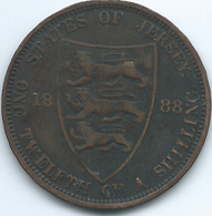 Jersey - 1888 - Victoria - 1/12th Shilling - KM8 - Jersey