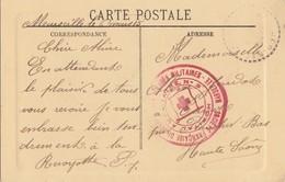 BOUCHES DU RHONE CP 1915 MARSEILLE HOPITAL AUXILIAIRE N°3 S.S.B.M. MARSEILLE - Marcophilie (Lettres)