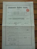 ANGLETERRE 1913 - PONTIANAK RUBBER ESTATE - DEBENTURES £ 20 - PETIT TIRAGE : 50 DE £ 20 SEULEMENT - Shareholdings