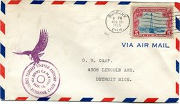 """ETATS-UNIS LETTRE PAR AVION AVEC CACHET ILLUSTRE D'UN RAPACE """"FIRST FLIGHT UNITED AIRPORT BURBANK..........NOV 16 1929 """" - 1c. 1918-1940 Covers"""