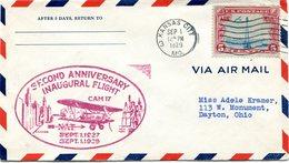 """ETATS-UNIS LETTRE PAR AVION AVEC CACHET ILLUSTRE """"SECOND ANNIVERSARY INAUGURAL FLIGHT CAM 17   SEPT 1 1927 SEPT 1 1929"""" - 1c. 1918-1940 Covers"""