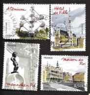 TIMBRES FRANCAIS...OBLITERATIONS RONDES... 2007....N°4073/4076..CAPITALES BRUXELLES.. VOIR SCAN - France