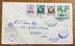 COLONIE ITALIANE OCCUPAZIONE BRITANNICA -M.E.F. 6+9+1S.+2/6 S. EGIPT POSTAGE PREPAID 14/10/45 PER U.S.A. + CENSOR RR - Altri