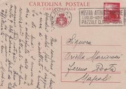 ITALIA - ROMA - INTERO POSTALE L. 3 - VIAGGIATO PER NAPOLI - FERMO POSTA - Interi Postali