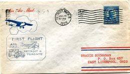 """ETATS-UNIS LETTRE PAR AVION AVEC CACHET ILLUSTRE """"FIRST FLIGHT AIR MAIL DETROIT TORONTO"""" DEPART DETROIT JUL 15 1929 - 1c. 1918-1940 Covers"""