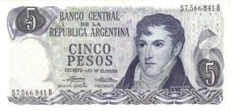 Argentina (BCRA) 5 Pesos ND (1974) Series B UNC Cat No. P-294a / AR347b - Argentine