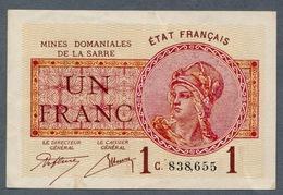 1 Francs Mines Domaniales De La Sarre  TTB/SUP - Schatkamer