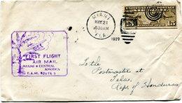 """ETATS-UNIS LETTRE PAR AVION AVEC CACHET ILLUSTRE """"FIRST FLIGHT AIR MAIL MIAMI * CENTRAL AMERICA F. A. M. ROUTE 5""""     """" - 1c. 1918-1940 Covers"""