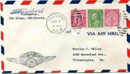 """ETATS-UNIS LETTRE PAR AVION AVEC CACHET ILLUSTRE """"FIRST FLIGHT INAUGURATING AIR MAIL SERVICE....SAN DIEGO... JUN 1 1930"""" - 1c. 1918-1940 Covers"""