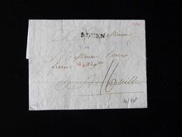 LETTRE DE ROUEN POUR MARSEILLE  -  1780  - - 1701-1800: Précurseurs XVIII