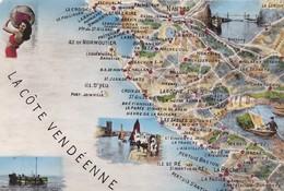 85  VENDEE. .CARTE GÉOGRAPHIQUE ILLUSTRÉE DE LA COTE VENDÉENNE. ANNEE 1955 + TEXTE - Unclassified