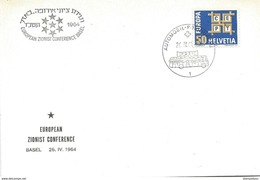 """112 - 36 - Enveloppe Avec Oblit Spéciale """"European Zionist Conference Basel 1964"""" - Marcophilie"""