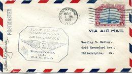 """ETATS-UNIS LETTRE PAR AVION AVEC CACHET ILLUSTRE """"FIRST FLIGHT INAUGURATING AIR MAIL SERVICE....ROCKFORD.... C.A.M. N°9"""" - 1c. 1918-1940 Covers"""