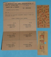Rare Ancienne Carte 6 Tickets, ESF E.S.F. Ecole De Ski Français, Le Mont Dore FFS F.F.S. Vallée Des Belleville Remontées - Eintrittskarten