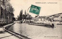 CPA Batellerie - 51 - MAREUIL-SUR-AY - Le Pont Du Canal - Editeur Toussain à Mareuil - Mareuil-sur-Ay
