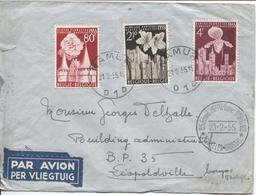 REF1006/ TP 961/963 S/L.Avion C.Namur 21/2/55 + C.Sp.Thieffry-Cocquyt BXL 23/2/55 > Congo Belge C.d'arrivées - Poststempel