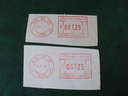 """ARGENTINE- 1995-1996- 2  Vignettes   D'affranchissement  """" SUC 38 (B)  1438- 001.25 """"               Net 2 Euros Le Lot - Affrancature Meccaniche/Frama"""