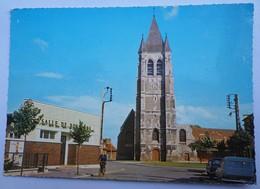 CPSM COURRIERES 62 - LA SALLE DE REUNIONS - L'EGLISE - France