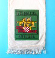 4. GARDIJSKA BRIGADA (Pauci - Split) - Croatia Army OLDER LARGER Pennant * Flag Croatie Armee Kroatien Croazia Croacia - Bandiere