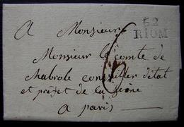 Ennezat (Puy De Dôme) 1819, Marque Noire 62 Riom  Sur Lettre Pour Le Comte De Chabiole Préfet De La Seine à Paris - Marcofilie (Brieven)
