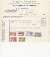 Sleidinge - Ghysbrechts Frères - Caisserie - Tonnellerie - Factuur 1946 - Belgique