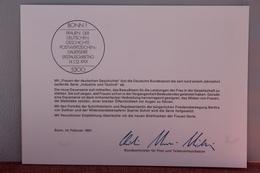 """Ministerkarte Zum Ausgabeanlaß """"Frauen D. Deutschen Geschichte: S. Scholl; B. Von Suttner """", 14. Feb. 1991;MiNr. 1497-98 - Sin Clasificación"""