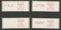 France Vignettes ATM Série Complète De 4 MNH / ** 1984 Timbres De Distributeurs LS09 75513 Tarif Postal Au 01.07.84 - 1981-84 LS & LSA Prototypes