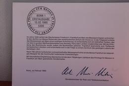 """Ministerkarte Zum Ausgabeanlaß """"750 Jahre Messeprivileg Frankfurt/M."""", 15. Febr. 1990; MiNr. 1452 - Non Classés"""