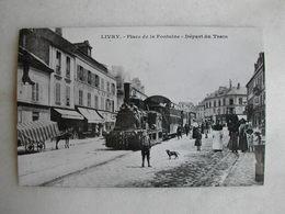 PHOTO Repro De CPA (J. Renaud) - Train - Livry - Place De La Fontaine - Le Départ Du Train - Trains