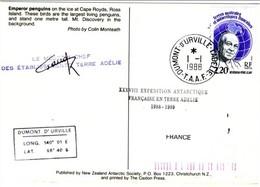 FSAT Medical Service TAAF Cachet Médecin Chef Des Etablissements Terre Adelie 1.1.88 TA Carte Postale Manchots Empereurs - Lettres & Documents