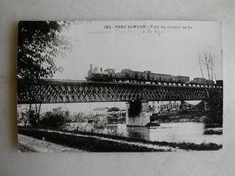 PHOTO Repro De CPA - Train - Parc Saint Maur - Pont Du Chemin De Fer (avec Train Qui Passe) - Trains