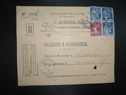DEVANT LR VALEURS A RECOUVRER TP PAIX 65c X3 + SEMEUSE 20c OBL.28-2 38 ST ETIENNE MANUFACTURE LOIRE (42) Tiretée CHAMBON - 1921-1960: Modern Tijdperk