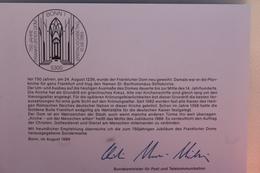 "Ministerkarte Zum Ausgabeanlaß: ""750 Jahre Dom Frankfurt/M.""; 10. Aug. 1989; MiNr. 1434 - Non Classés"