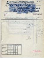 -Facture:BRASSERIE Vandenkerkhoven,Decoster-Heymans-Gueuze& Krieken-Lambic-1954- - Facturas