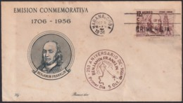 1956-FDC-150 CUBA REPUBLICA 1956 FDC BENJAMIN FRANKLIN ELECTRICITY RED CANCEL. - FDC