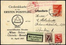 FLUGPOST BIS 1938 27.10c BRIEF, 21.4.1927, Erstflug WIEN-BRESLAU, Gedenkkarte (weißer Karton), Pracht - AUA-Erstflüge