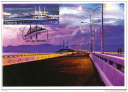 30a : Malaysia Penang 2nd Bridge Cable Stayed, Carte Maximum Card, Maxicard, MC No7 - Bridges