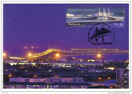 30a : Malaysia Penang 2nd Bridge Cable Stayed, Carte Maximum Card, Maxicard, MC No6 - Bridges