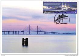 30a : Malaysia Penang 2nd Bridge Cable Stayed, Carte Maximum Card, Maxicard, MC No1 - Bridges