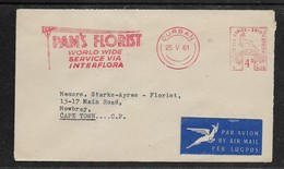 South Africa, PAM'S FLORIST INTERFLORA Meter Frank, 4d, DURBAN 25 V 61, Air Mail > Cape Town - Covers & Documents