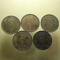 Spain 5 Coins 2 Centimos 1904/1905 Almost UNC - Munten & Bankbiljetten