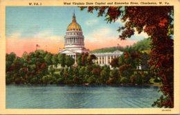 West Virginia Charleston State Capitol And Kanawha River 1943 Curteich - Charleston